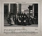 A funeral procession entering a church. Etching by T. Cook a Wellcome V0049229.jpg