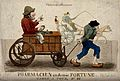 A poor apothecary in a cart being drawn by his servant are o Wellcome V0010780.jpg