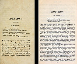 The first page of chapter one from the 3rd (three-volume) edition of 1818 compared with the same page of the single-volume 1906 Everyman's Library Edition of Rob Roy. A three-volume edition of Rob Roy compared with a single-volume edition.jpg