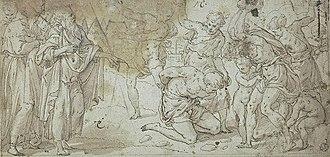 Emor - The Blasphemer (16th Century drawing by Niccolò dell'Abbate)
