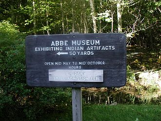 Robert Abbe - Abbe Museum sign post in Sieur de Monts, Maine
