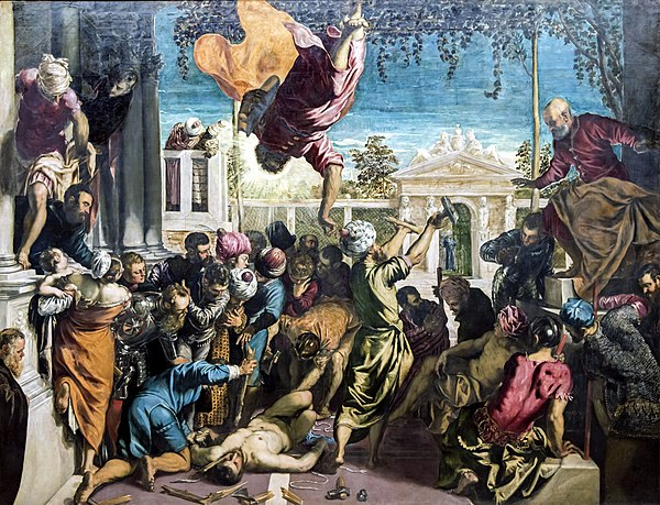 Miracle of the Slave a 1548 painting by Tintoretto, from the Gallerie dell'Accademia in Venice. It portrays an episode of the life of Saint Mark, patron saint of Venice, taken from Jacopo da Varazze's Golden Legend. The scene shows a saint intervening to make a slave who is about to be martyred invulnerable. Accademia - Miracle of the Slave by Tintoretto.jpg