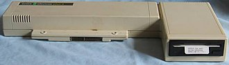 Acorn Electron - Acorn Plus 3, showing the connector and disc drive