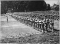 Activity in the ranks of University of California unit. Photo shows California students inspection drill on the... - NARA - 533482.tif