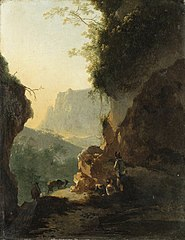 An Italianate landscape with peasants resting on a mountain path