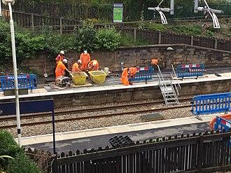 Adlington railway station (Lancashire) - Work in August 2018 at Adlington Railway Station including electrification