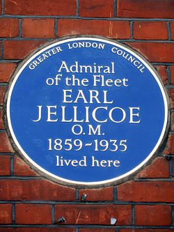 Photo of John Jellicoe blue plaque