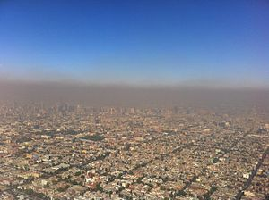 Road space rationing - Severe smog over Mexico City.