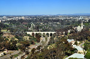 Cabrillo Bridge - Low aerial view of Cabrillo Bridge and San Diego Museum of Man