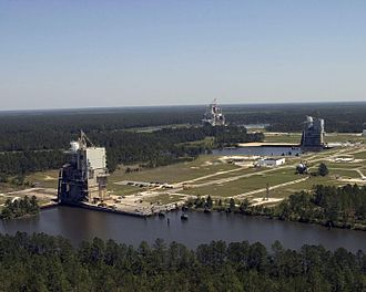 John C. Stennis Space Center - A-1 test stand(foreground), A-2 (mid-ground)  and B1/B2 (background)