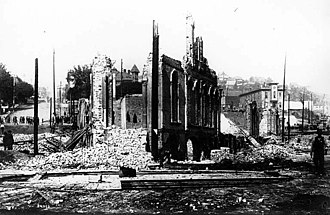 Great Seattle Fire - Aftermath of Seattle fire of June 6, 1889 looking east at the ruins of the Occidental Hotel at corner of James St. and Yesler Way.