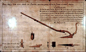 Floridablanca (Patagonia) - A plow and other tools depicted for their use in Spanish colonies in Patagonia