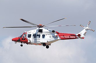 Bristow Helicopters - AgustaWestland AW189 helicopter of the UK coast guard, operated by Bristow Helicopters, arrives at the 2018 RIAT, England