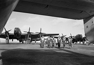 RAF Stornoway - Aircrew and Handley Page Halifax Mk III bombers of No. 502 Squadron operating with RAF Coastal Command at Stornoway, in the Outer Hebrides, February 1945.
