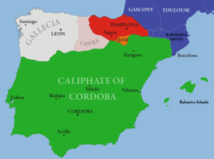 Map of al-Andalus and the Iberian Christian Kingdoms circa the year 1000
