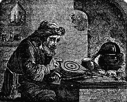 An alchemist, pictured in Charles Mackay's Extraordinary Popular Delusions and the Madness of Crowds.