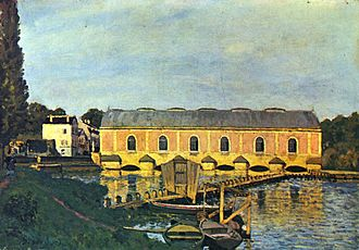 Machine de Marly - The 1859 Machine de Marly painted circa 1873 by Alfred Sisley