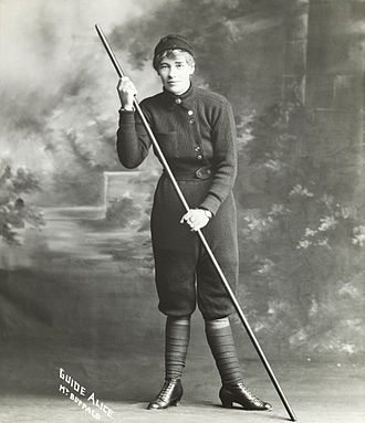 Knickerbockers (clothing) - Alice Manfield wearing a style of knickbockers in the early 20th century for her work as a mountain guide