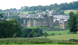 """The town of Alnwick, nestling behind <a href=""""http://search.lycos.com/web/?_z=0&q=%22Alnwick%20Castle%22"""">Alnwick Castle</a>"""