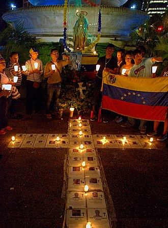 Timeline of the 2015 Venezuelan protests - A vigil being held on 5 January 2015 for those killed and imprisoned during the 2014 Venezuelan protests.