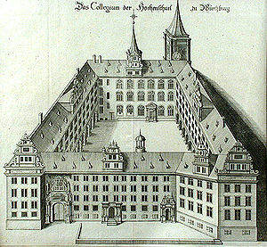 University of Würzburg - Old University, drawing from the 17th or 18th century