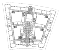 Ground floor plan, showing courtyards and irregular trapezoidal shape