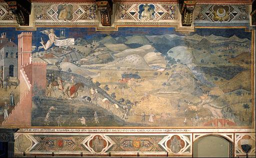 Ambrogio Lorenzetti, Effetti del Buon Governo in campagna, 1338-1339, Sala della Pace, Palazzo Pubblico, Siena