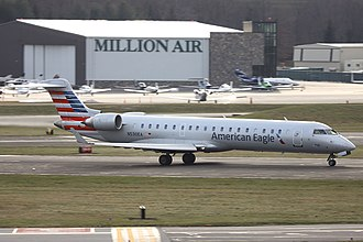 American Eagle (airline brand) - An American Eagle CRJ-700 at Westchester County Airport.