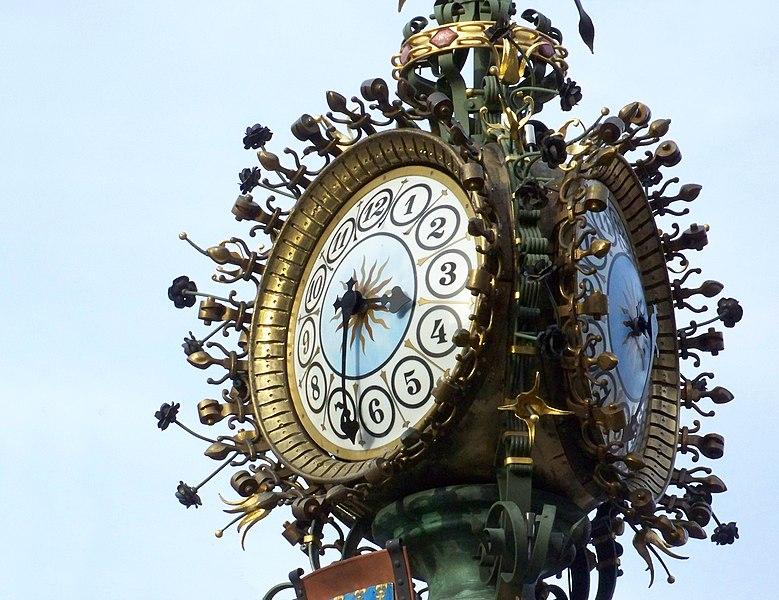 "Street clock in the ""rue des bois des sergents"", Amiens, France"