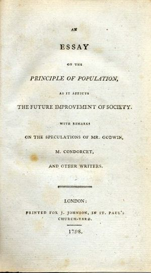 Essay - Malthus' Essay on the Principle of Population