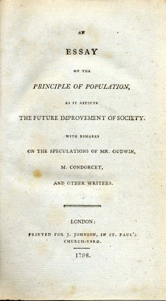 An Essay on the Principle of Population - Title page of the original edition of 1798.