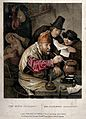 An alchemist hunched over his crucible; an assistant reads h Wellcome V0025533.jpg