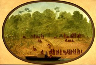 An Omagua Village - Boat Sketch
