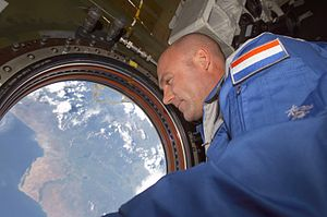 André Kuipers - Kuipers looking at Earth from the International Space Station in 2004