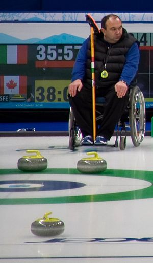 Italy at the 2010 Winter Paralympics - Andrea Tabanelli, skip for the Italian Wheelchair Curling Team, at the Vancouver Olympic/Paralympic Centre.