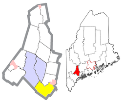 Location of Durham (in yellow) in Androscoggin County and the state of Maine