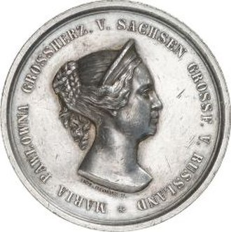 Grand Duchess Maria Pavlovna of Russia (1786–1859) - Medal by Angela Facius on her 50th anniversary in Weimar in 1854