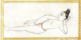 Sritattvanidhi - Illustration of a yogini in Aṇkuśāsana, the elephant goad pose, now usually called Bhairavasana
