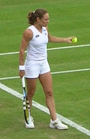 Tennis player Anna Smashnova prepares to serve...
