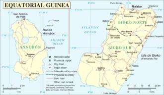 Annobón - Detailed map of Annobón (left)