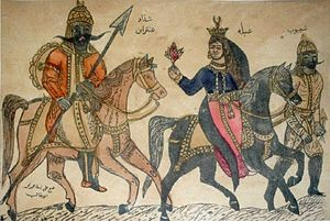 Antarah ibn Shaddad - Antarah and Abla depicted on a 19th-century Egyptian tattooing pattern.