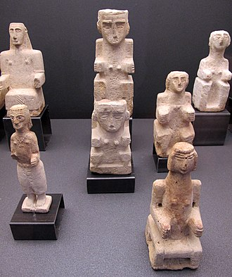 Religion in pre-Islamic Arabia - Alabaster votive figurines from Yemen, now in the National Museum of Oriental Art, Rome