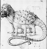 Tarasque illustration in pen and ink, 16th century book by Pierre Sala