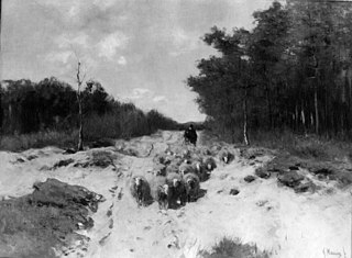 Shepherd and Sheep on a Woodland Road