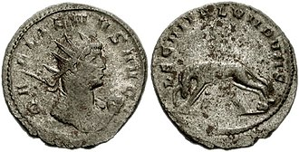 "Legio II Italica - The symbol of II Italica, the she-wolf with twins, on this antoninianus mint by Gallienus. The reverse has LEG II ITAL VII P VII F, ""Legio II Italica seven times faithful and loyal""."