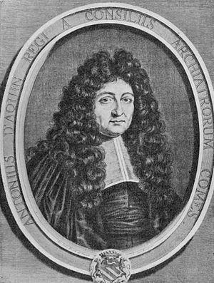 Antoine d'Aquin - Engraving portrait, 17th century