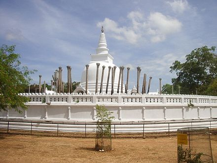 Stone pillars around the Stupa suggest that there was a Vatadage with a conical roof and the Stupa in the center of the house Anuradhapura25.jpg