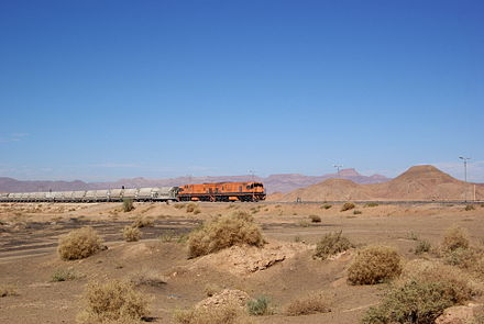 A phosphate train at Ram station. Aqaba Railway Corporation BW 1.JPG