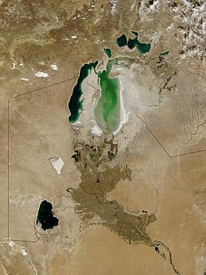Geography of the Soviet Union - The Aral sea in 2003 with visible shrinkage