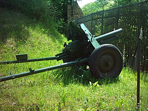 76 mm regimental gun M1943 - 76 mm regimental gun M1943 in the Poznań citadel, Poland.